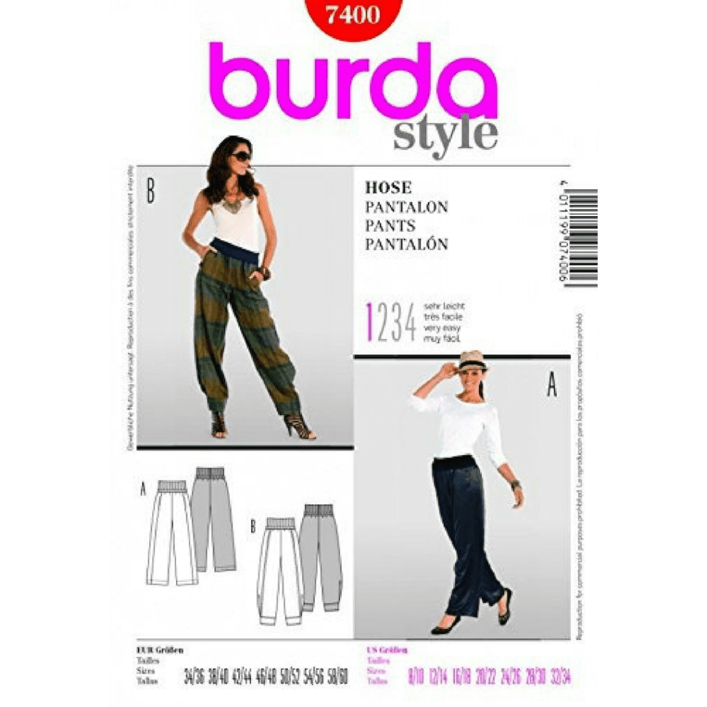 Burda 7400 loose fitting trouser pattern