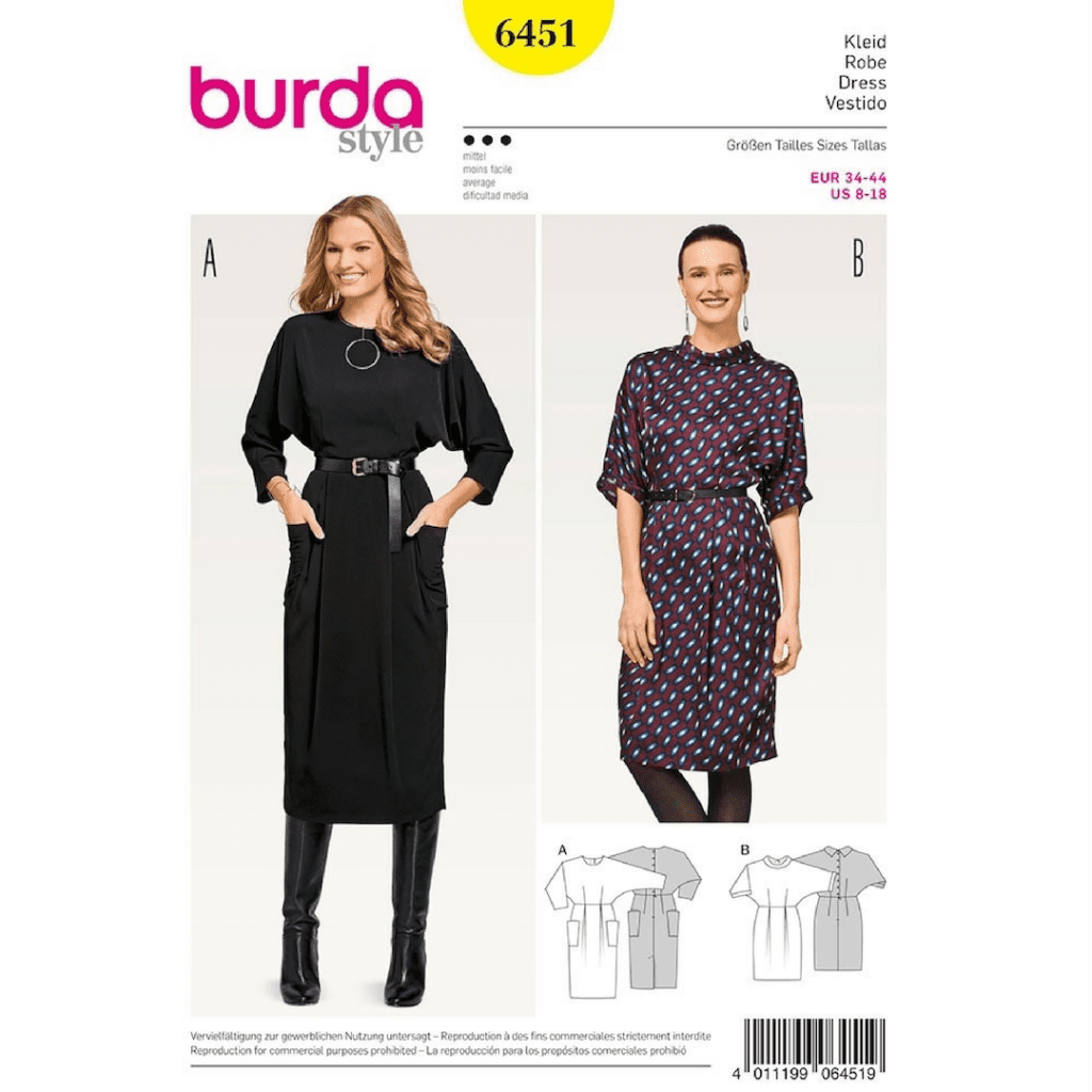 burda 6451 easy dress pattern