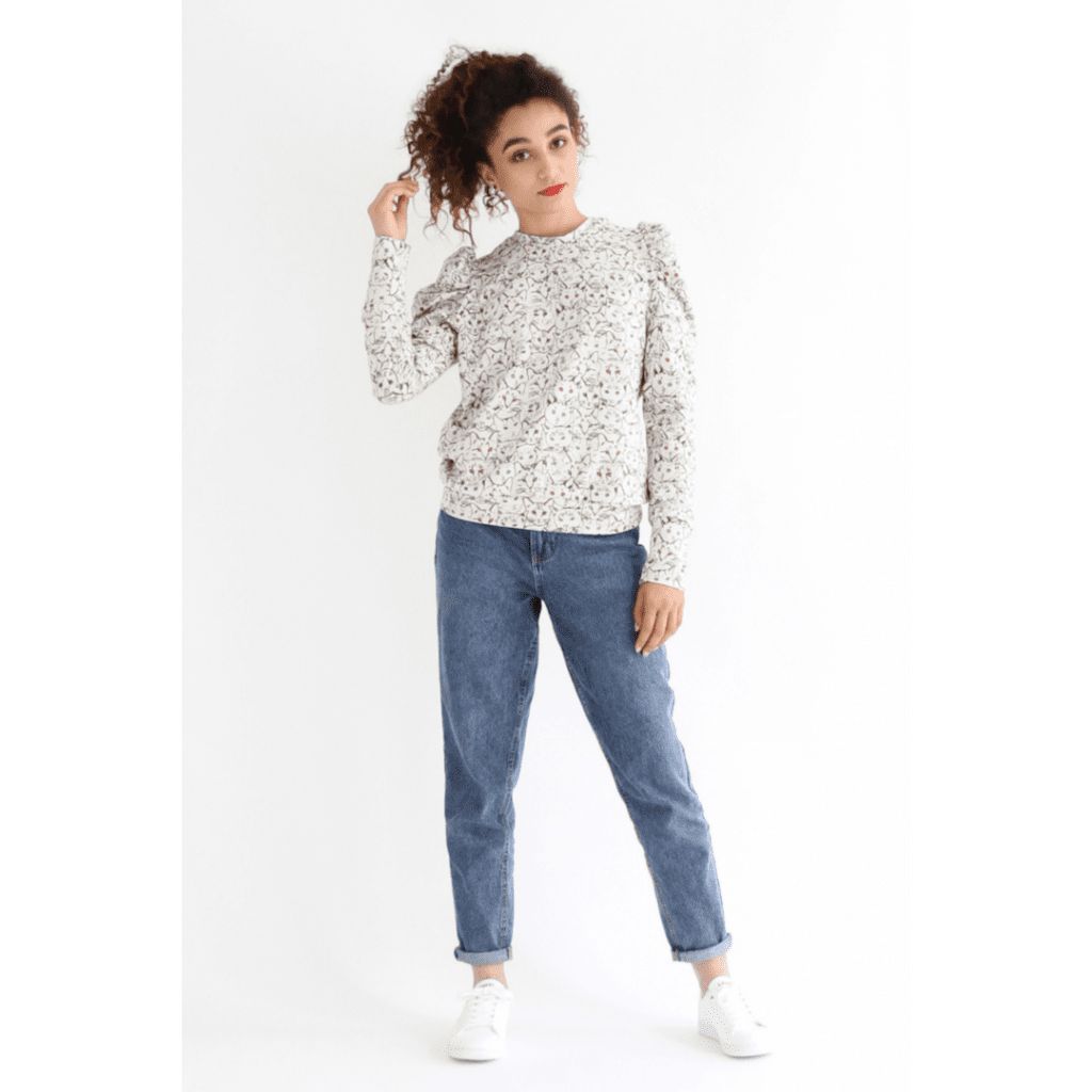 iam lion pattern puff sleeve casual top